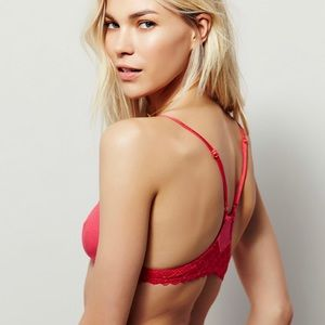 FREE PEOPLE Red Babycakes Lace Underwire Bra 34B